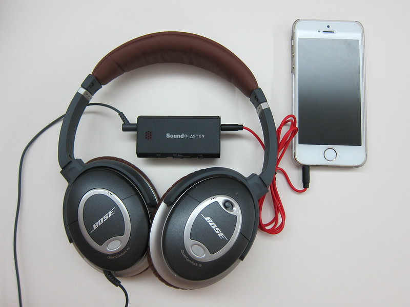 Sound Blaster E1 - With Bose QC 15 Headphones