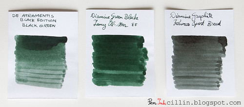 De Atramentis Black Green compared with 2 inks
