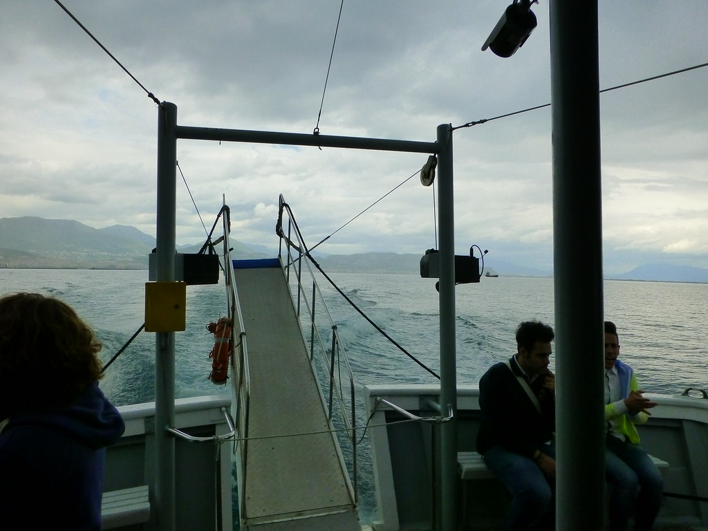 Taking a rainy boat ride from Salerno to Amalfi