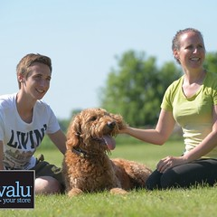 Hot off the press! Thanks #petvalu for an #amazing #day at the #photoshoot with the best #son and our 4-legged #friends ! #goldendoodle #dog #momandson_petlovers