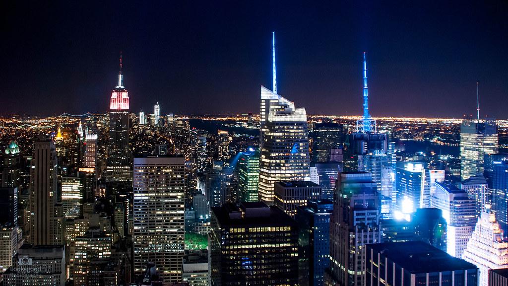 New York Skyline At Night 4K Wallpaper / Desktop Backgroun