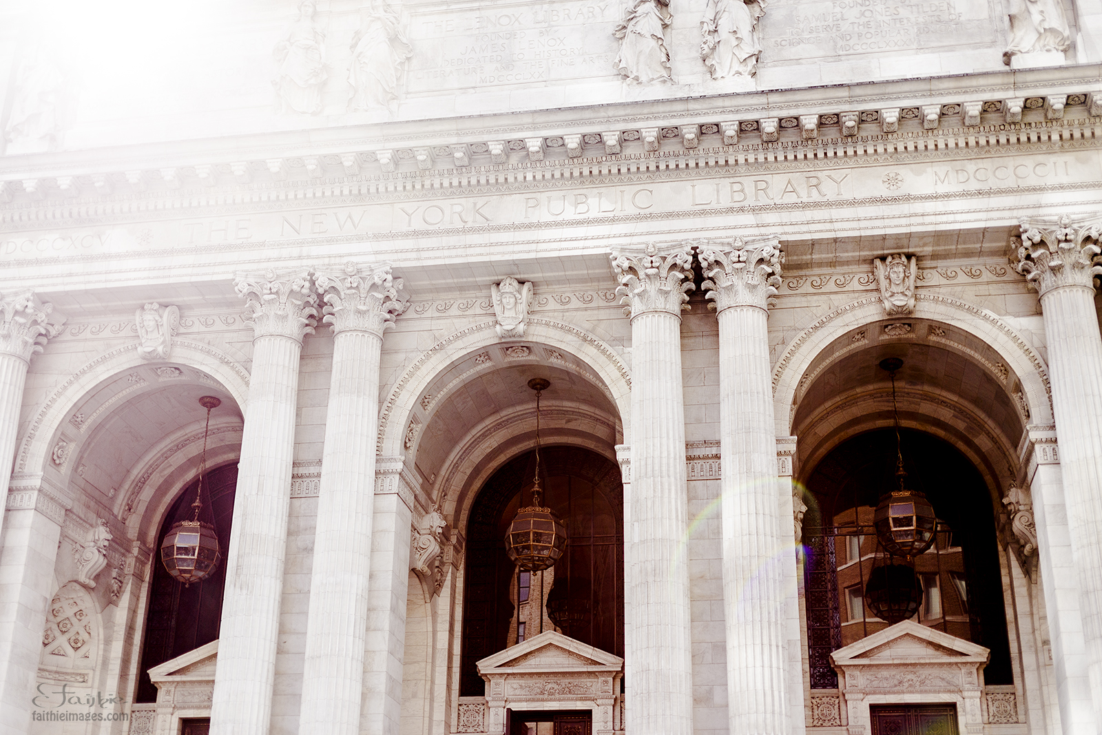 Image of the New York Public Library with sunflare