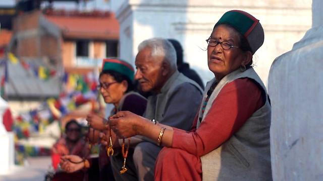 Prayers at the Buddhist stupa in Kathmandu बौद्धनाथ - 3