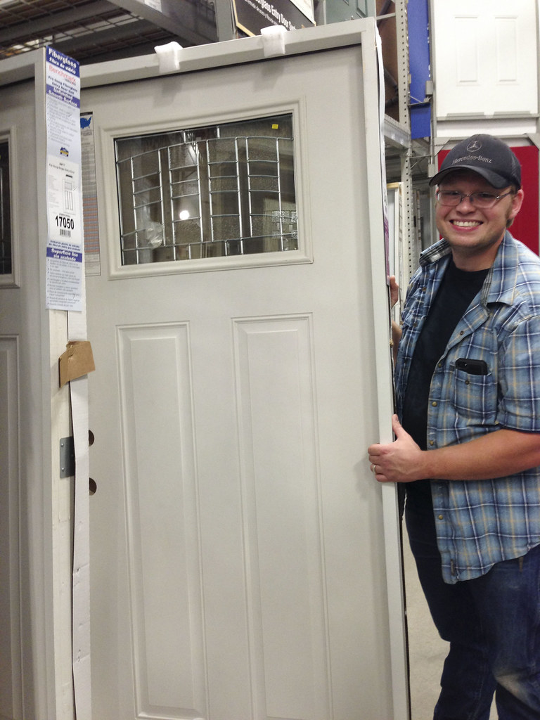 Joshua with our new front door!