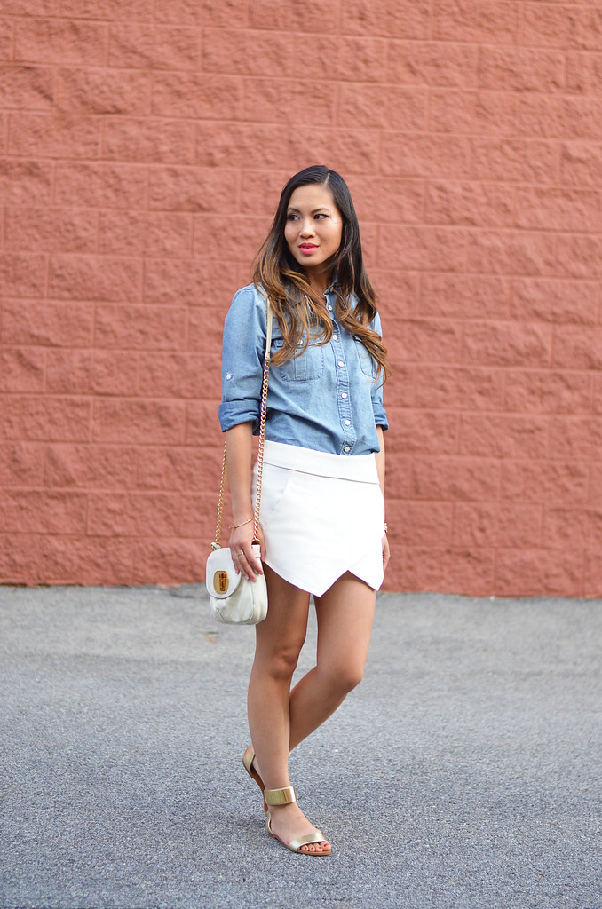 chambray shirt, white zara skort bottom, sandals summer outfit
