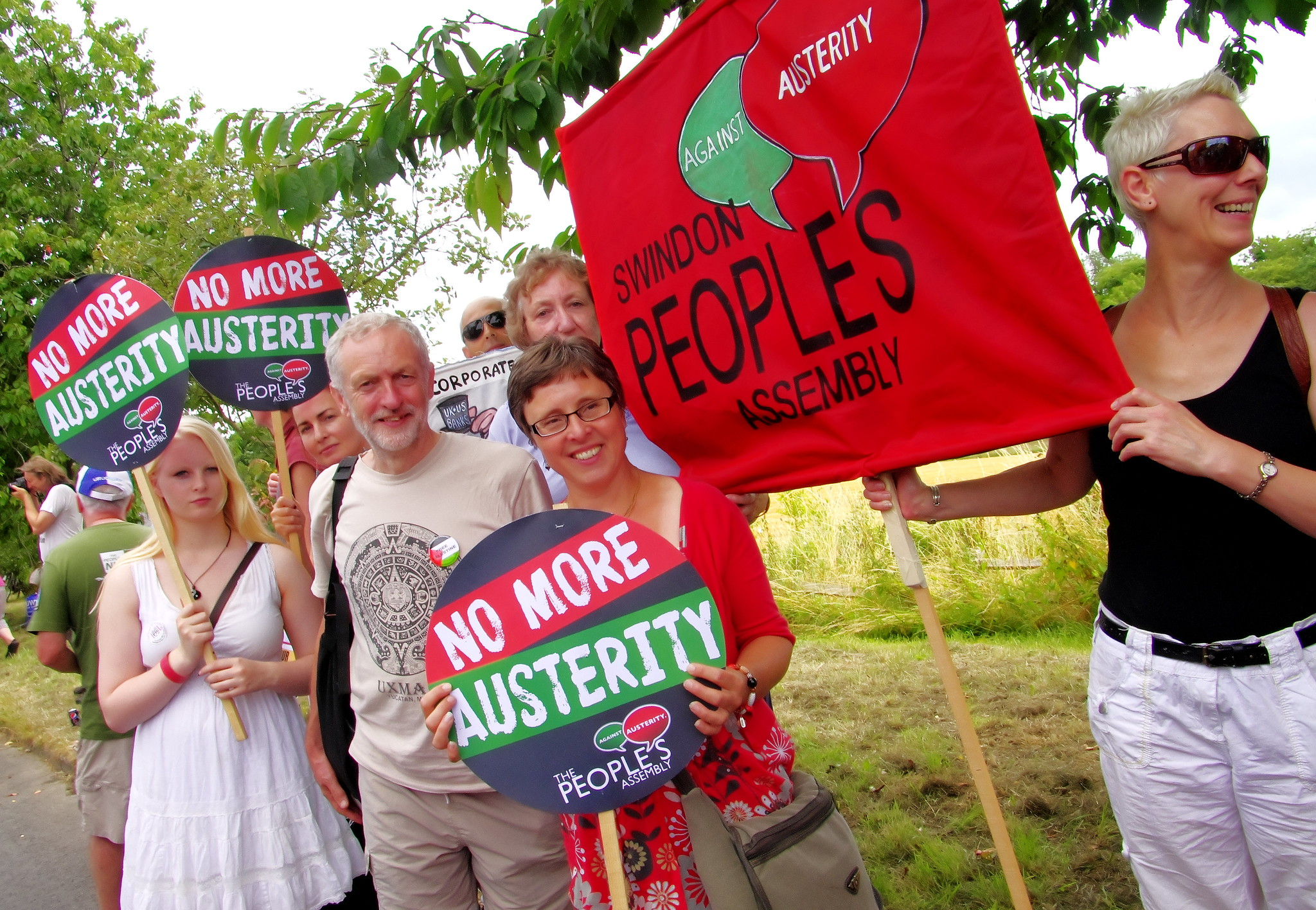 Jeremy Corbyn MP Islington North with Dorset, Swindon, Bristol People's Assembly @TolpuddleFestival March 20/07.2014