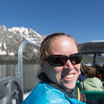 Emily on the boat, Jenny Lake