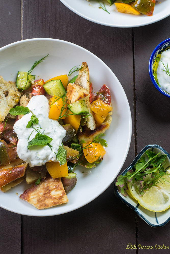Heirloom Tomato Fattoush Salad via LIttleFerraroKitchen.com