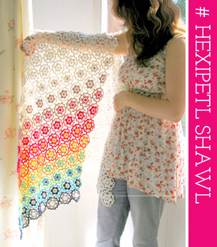 Crochet design: Hexipetl Shawl by Emma Lamb for Gomitoli's