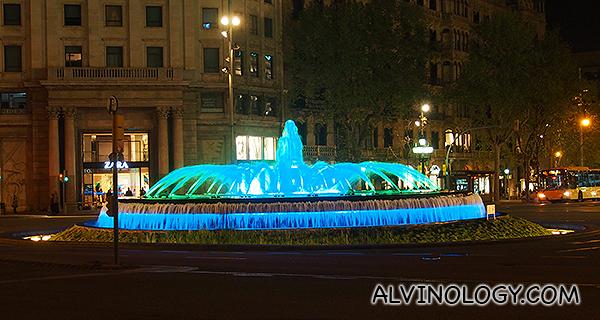 A fountain near the hotel