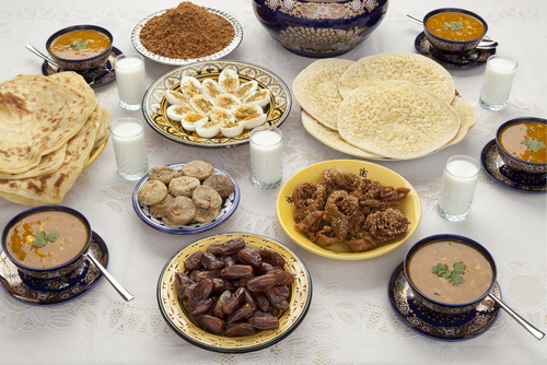 Traditional Moroccan meal for Eid ul-Fitr after the fast for Ramadan has been broken.
