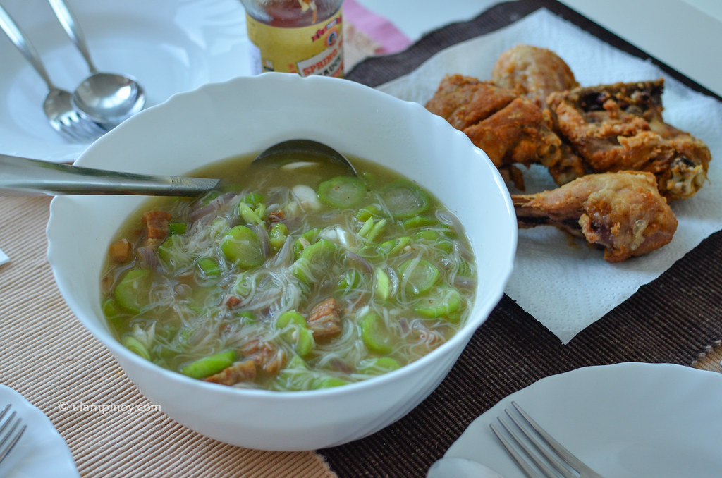Misua Patola Soup & Fried Chicken