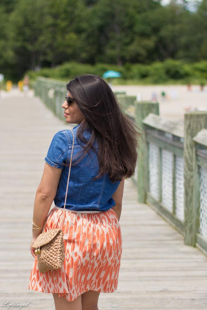 chambray shirt, orange ikat skirt-3.jpg