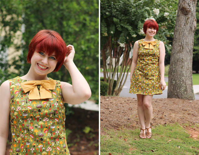 Green Mushroom Print Dress and Red Hair