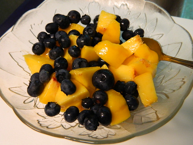 Peach and Blueberries