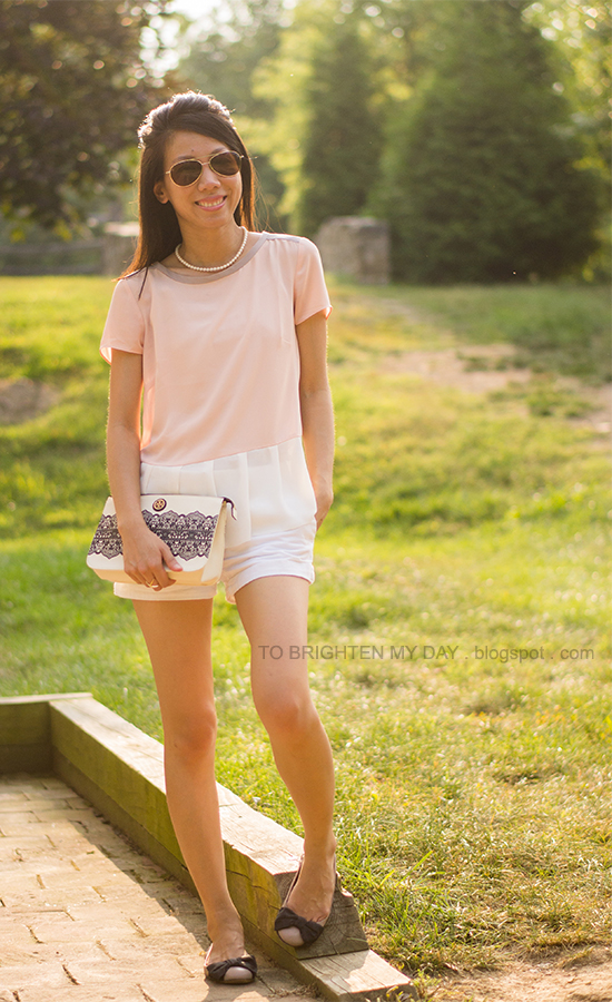 colorblock peplum top, white shorts, lace printed clutch, bow ballet flats
