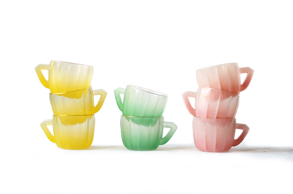Eight Vintage Pastel Frosted Glass Mugs