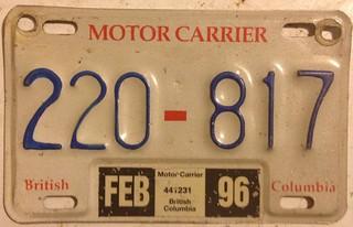 BRITISH COLUMBIA 1996--- MOTOR CARRIER SUPPLEMENTAL PLATE