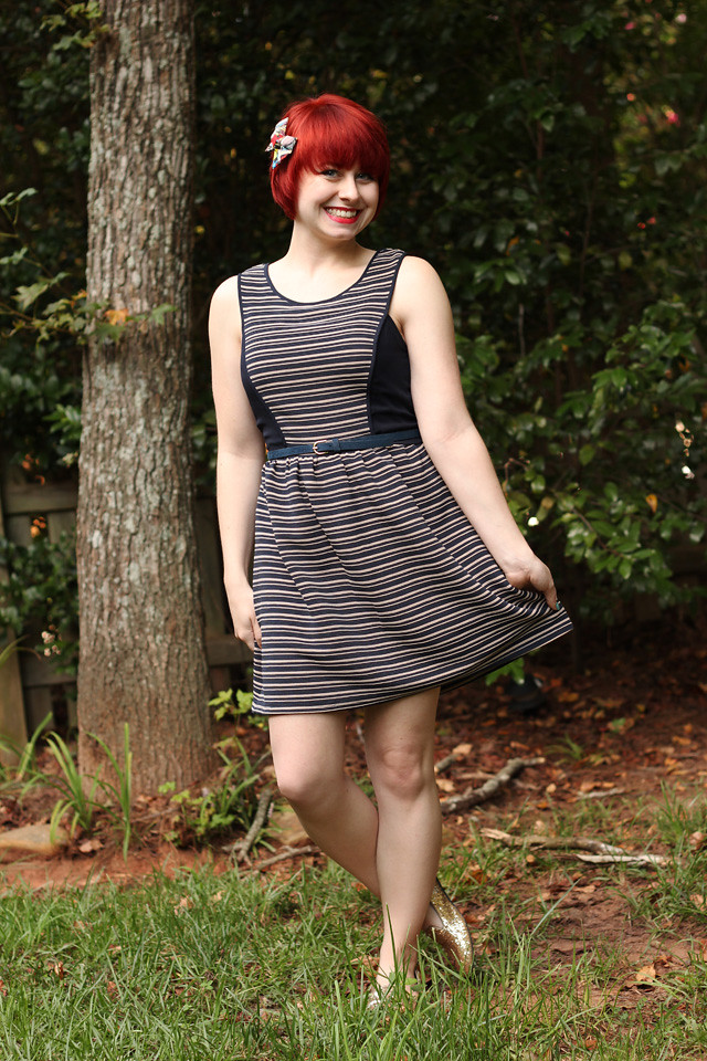 Striped Modcloth Dress with Sparkly Gold Loafers and a Superhero Bow