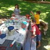 Painting our bird houses given to us by a special friend.