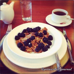 """Today is the first day of law school. Everything has been leading up to this moment. So I need all the strength I can get this morning. #whatsprinceeating: """"Raisin Bran Cereal w/ Black Berries"""" @langhamboston www.princesdailyjournal.com #princeinthecity #"""
