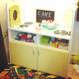 This is the play kitchen we built my son from two night stands. I love the subway tile. #diy #day4 #fmsphotoaday