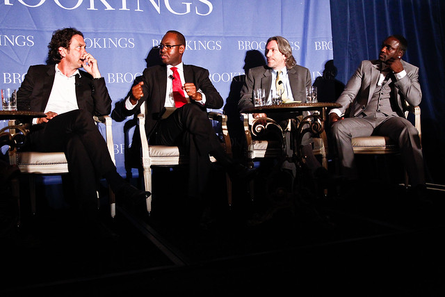 From Left to Right: William Wallis: Writer and Former Editor, African Affairs, Financial Times; Amaduou Mahtar Ba: Executive Chair, AllAfrica Global Media; John Prendergast: Founding Director, Enough Project; Akon: Founder of the Akon Lighting Africa