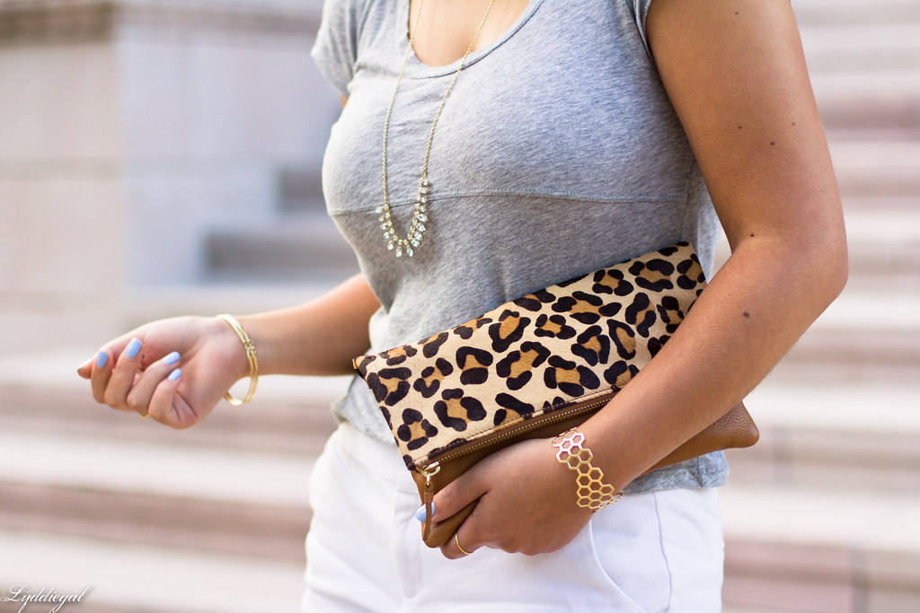 white shorts, grey tee, leopard clutch-3.jpg