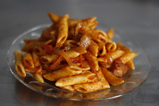 Pasta with amatrigiana sauce