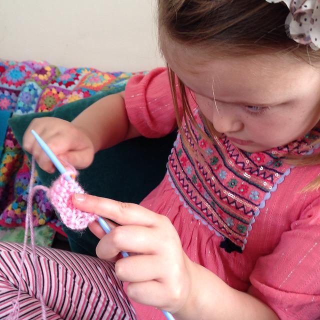 Little Miss is knitting!