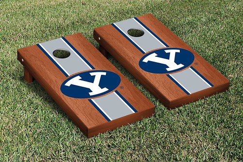 Brigham Young University BYU Cougars Cornhole Game Set Rosewood Stained Stripe Version 2