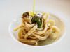 """Bigoli al Torchio"" pasta with heart of burrata, anchovies & broccoli cream"