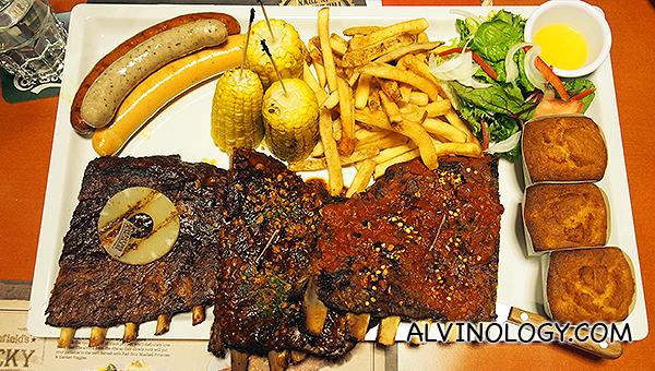Okay this is what people visit Morganfield's for - Morganfield's Ribs Sampl3r - S$119.90 (serves 3 to 5 pax)