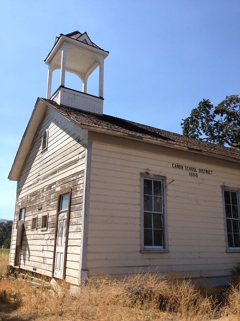 Old school house built in 1868 in Brooks, California