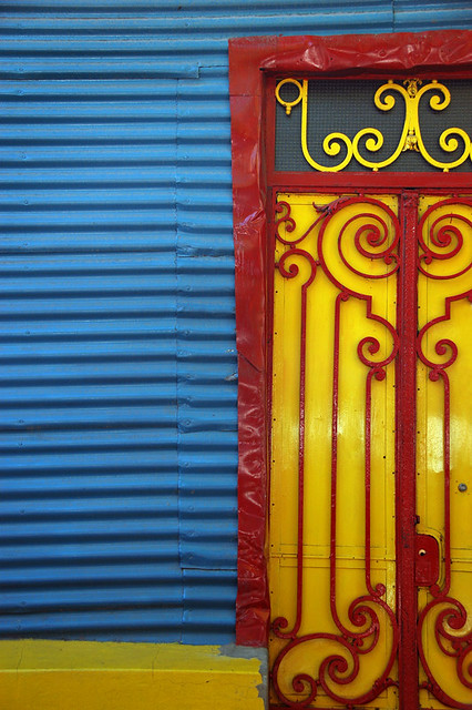 Brightly painted buildings in La Boca barrio in Buenos Aires