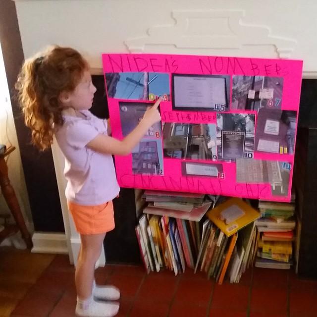 Practicing her Number Walk homework for tomorrow. She took the pictures while we were in Cincinnati bc apparently Matt and I can't go to Over the Rhine wo doing some sort of school project. #kindergarten #cincinnati #stevensonpartyoffive