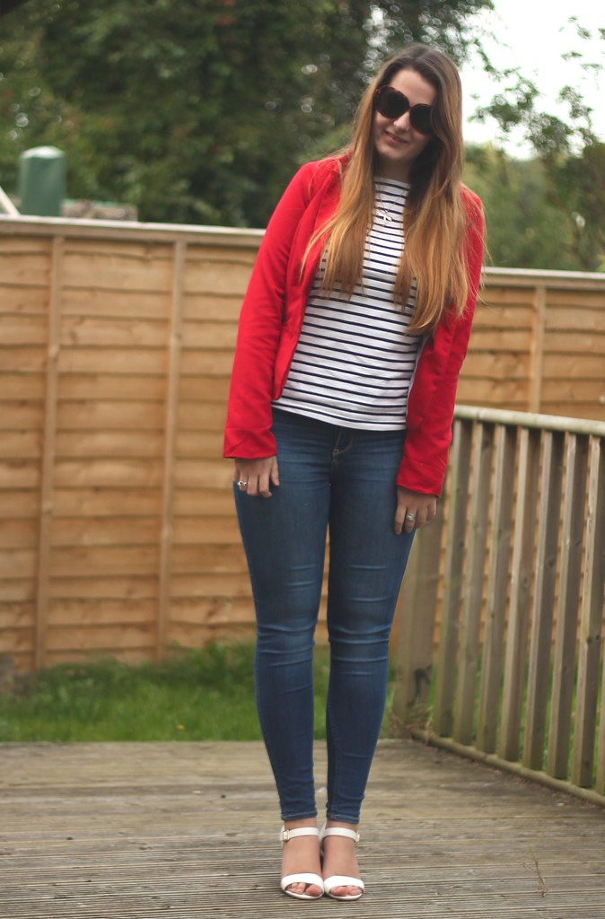Red blazer, striped top and jeans