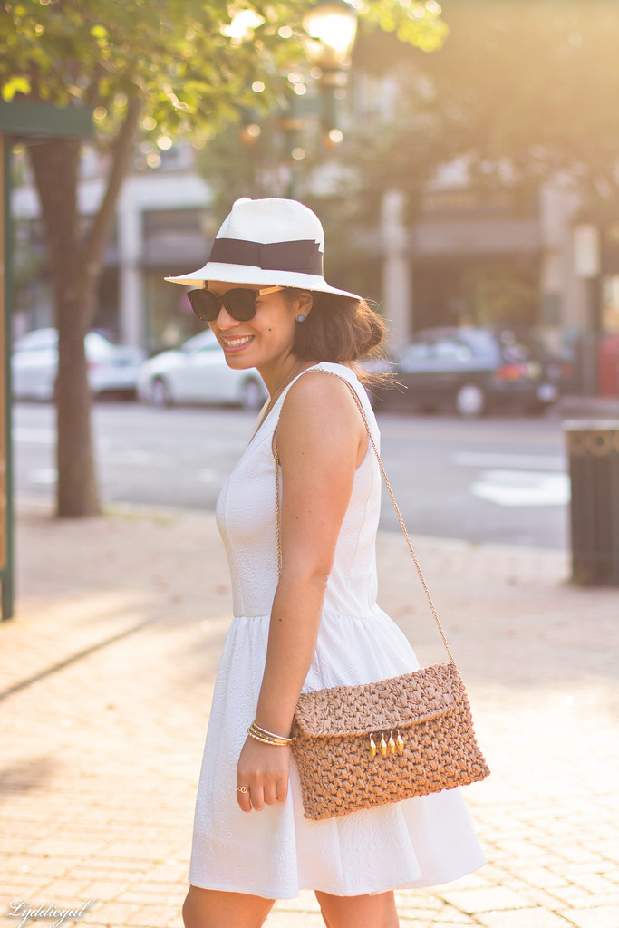 Little white dress, panama hat, straw clutch-5.jpg