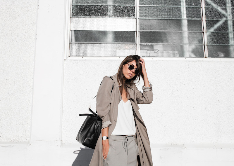 modern legacy fashion blog Australia fall Zara silky trench coat street style neutrals Bassike Birkenstock Madrid Alexander Wang bag (5 of 14)