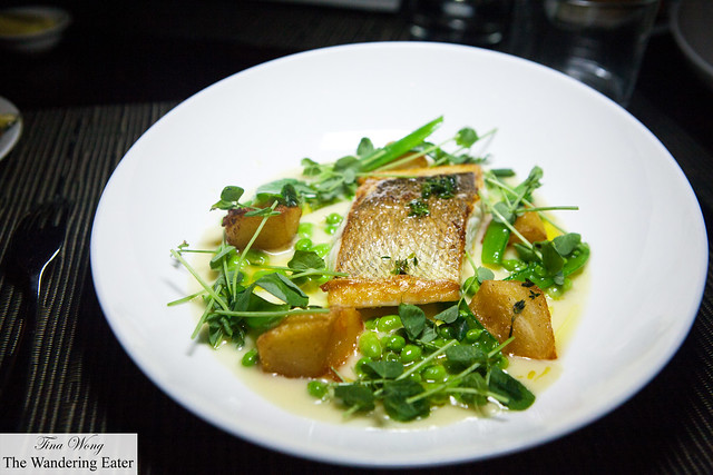 Sautéed Sea Bass, Sweet Garlic Sauce, Crunchy Potatoes.and Sweet Peas