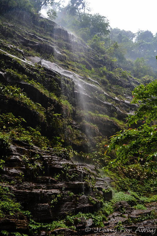 Tear-dropping waterfall