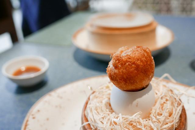 Crispy Egg Yolk with Mushrooms Gelatine
