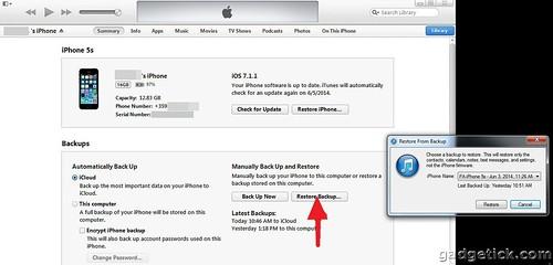 Как восстановить резервную копию iOS 7.1