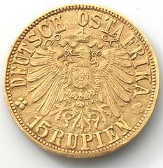 1916 German East Africa 15 rupie reverse