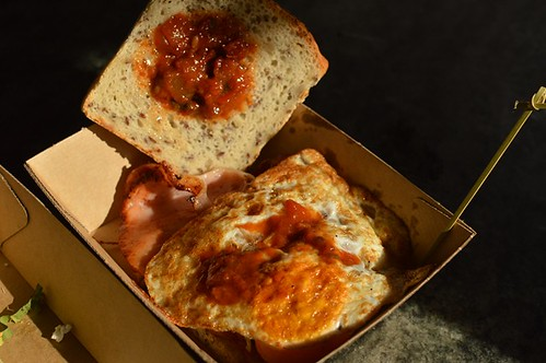 The Grounds of Alexandria: Bacon & egg roll (GF bread)
