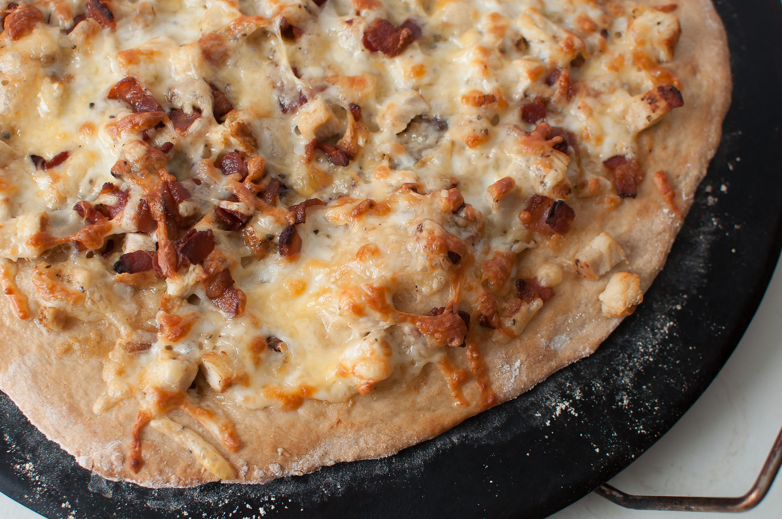 Roasted Garlic Chicken Bacon and Gouda Pizza 4