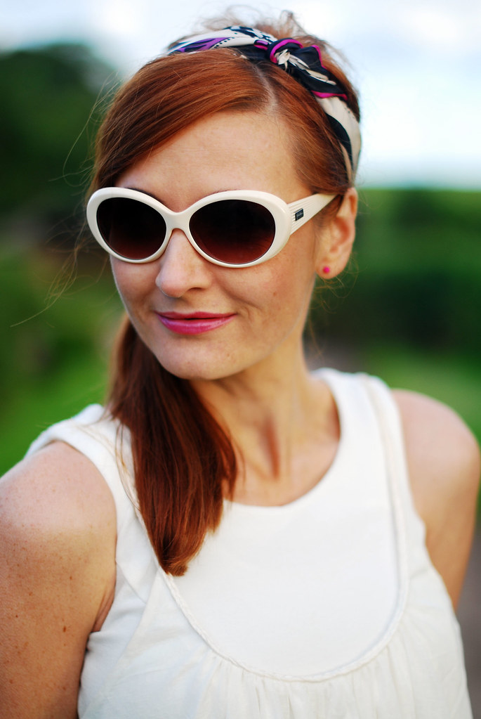 Summer whites - white sunglasses, heascarf