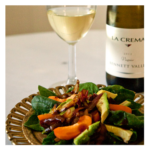 Apricot and Avocado Spinach Salad Paired with La Crema Bennett Valley Viognier