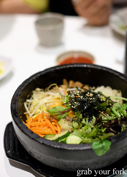 Dolsot bibimbap stone pot rice with beef and vegetables at The Sparrow's Mill, Sydney