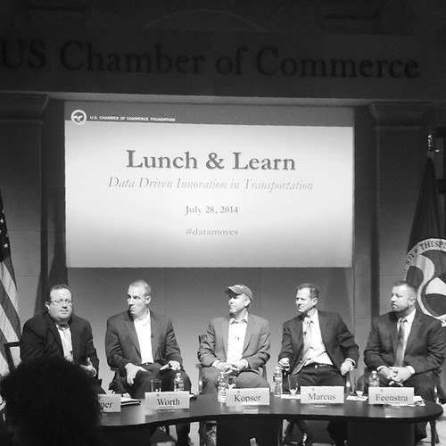 "At US Chamber Foundation ""Data and Transportation"" luncheon with reps from Uber + RideScout."